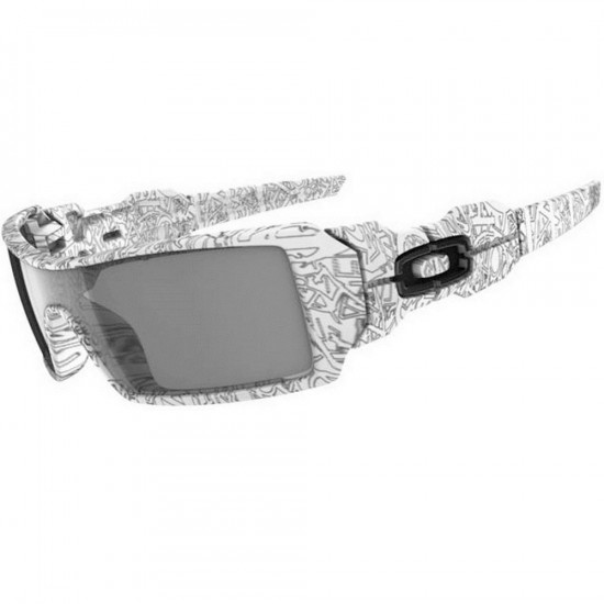 Oakley Oil Rig Sunglasses - White/Grey/Text Print Paint