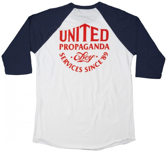 Obey United Propaganda Services Raglan T-shirt - White/Navy