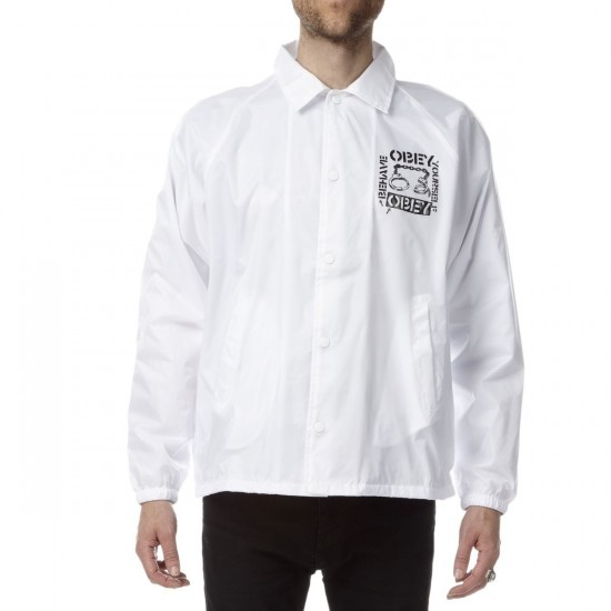 Obey Behave Yourself Coach Jacket - White