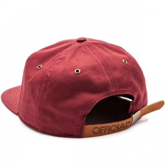Official Roj O 6 Panel Strapback Hat - Burgundy