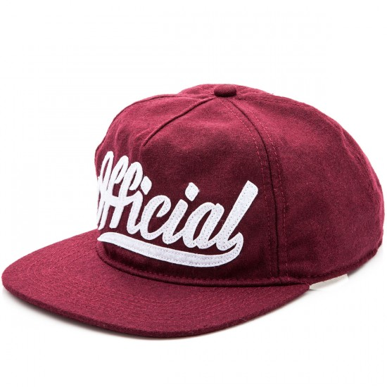 Official Skate Logo 5 Panel Strapback Hat - Burgundy