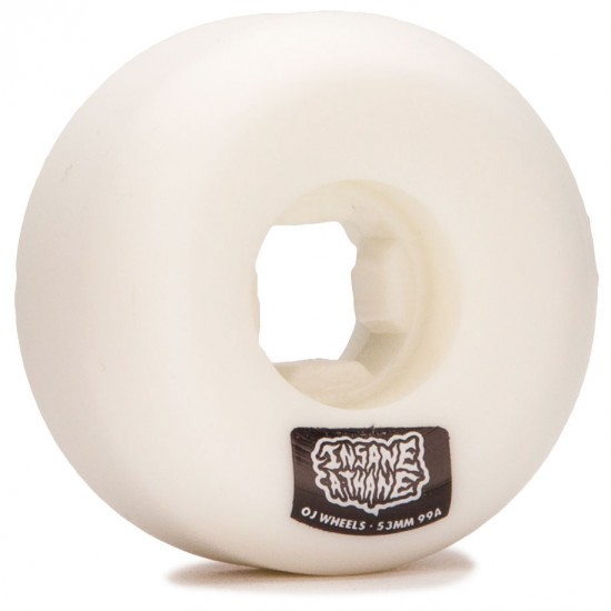 OJ Insaneathane Hard Line 99a Skateboard Wheels - White - 53mm