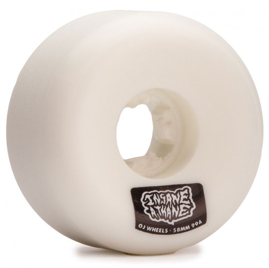 OJ Insaneathane Hard Line 99a Skateboard Wheels - White - 58mm