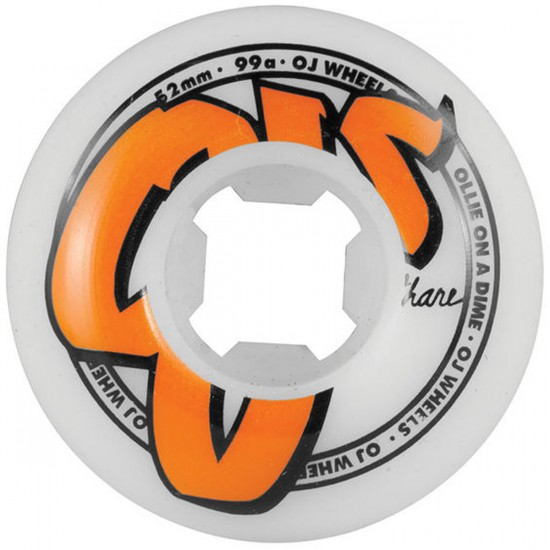 OJ Family Logo Skateboard Wheels - White - 52mm - 99a