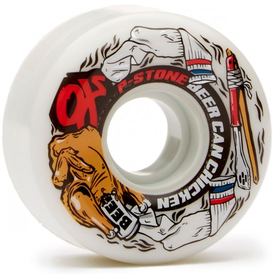 OJ P-Stone Beer Chicken Keyframe Skateboard Wheels - White - 58mm 87a