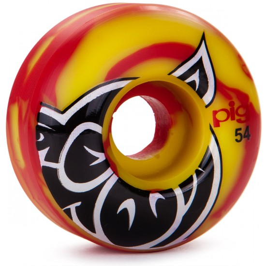 Pig Head Swirl Skateboard Wheels - 54mm - Red - 101a