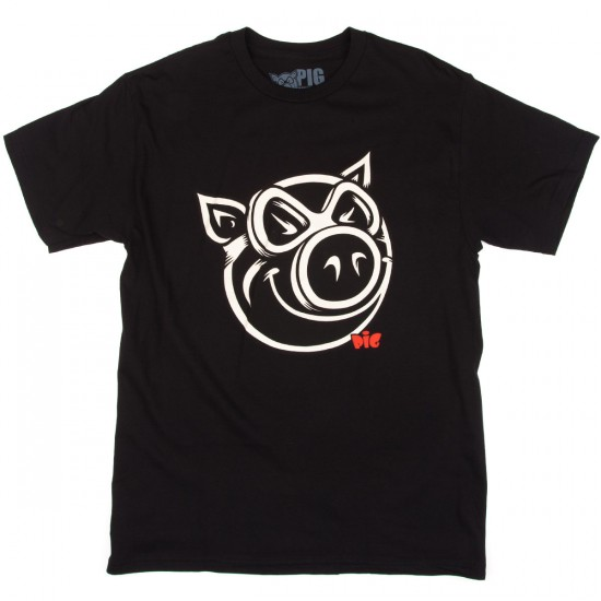 Pig Wheels 3D Pig T-Shirt - Black