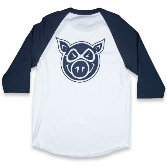 Pig Wheels Pig Head Raglan T-Shirt - White/Navy