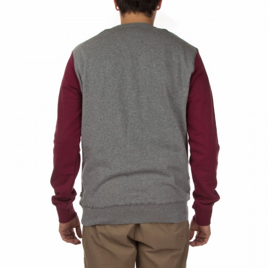 Poler Douglas Crew Neck Sweatshirt - Sweet Berry Wine/Heather Grey