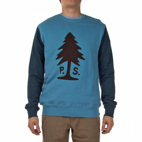 Poler Douglas Crew Neck Sweatshirt - True Blue/Blue Steel