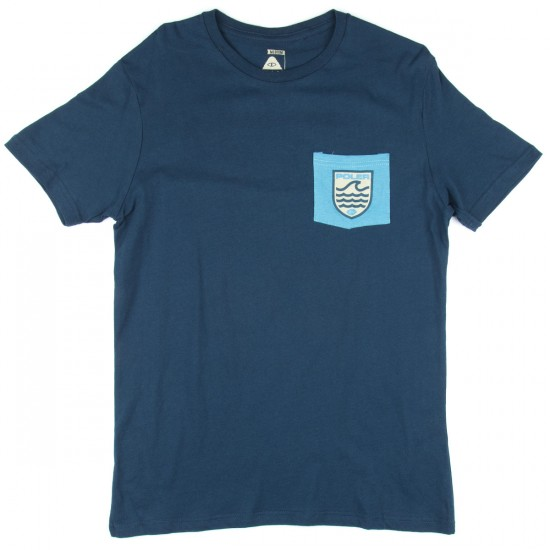Poler Draplin Patches Pocket T-Shirt - Blue Steel/True Blue
