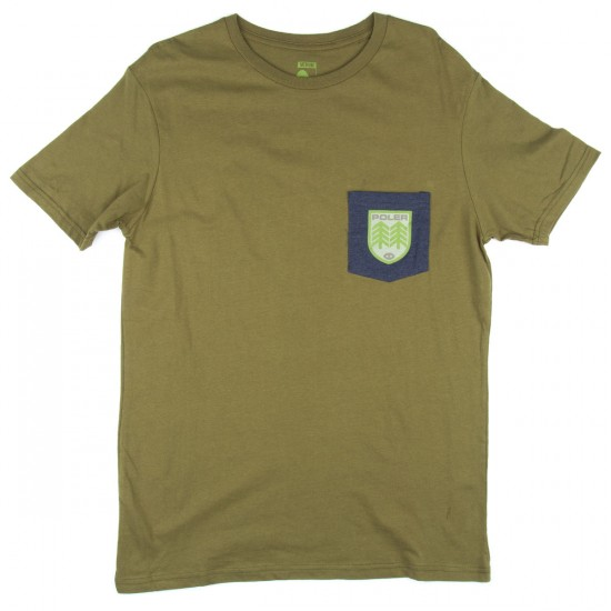 Poler Draplin Patches Pocket T-Shirt - Mossy/Navy Heather