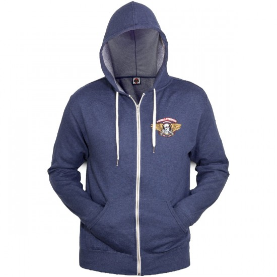 Powell-Peralta Winged Ripper Terry Zip Sweatshirt - Navy Heather
