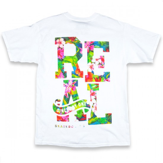 Real Stacked Floral Premium T-Shirt - White