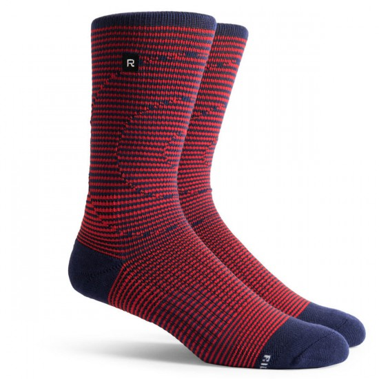 Richer Poorer Bull Eye Athletic Socks - Red & Navy