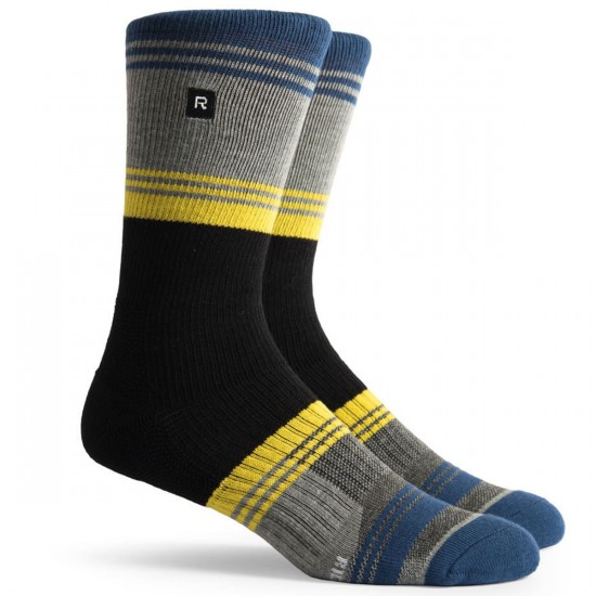 Richer Poorer Expressionist Athletic Socks - Navy & Yellow