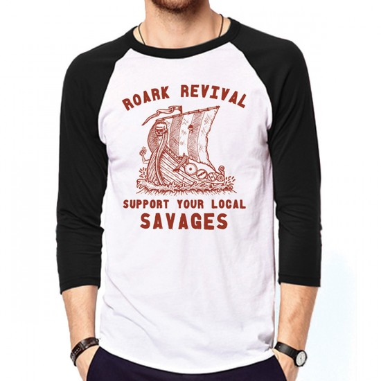 Roark Savages Raglan T-Shirt - White/Black