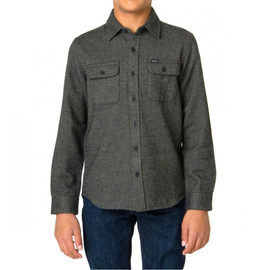 RVCA Coyote Boys Flannel Shirt - Dusty Olive