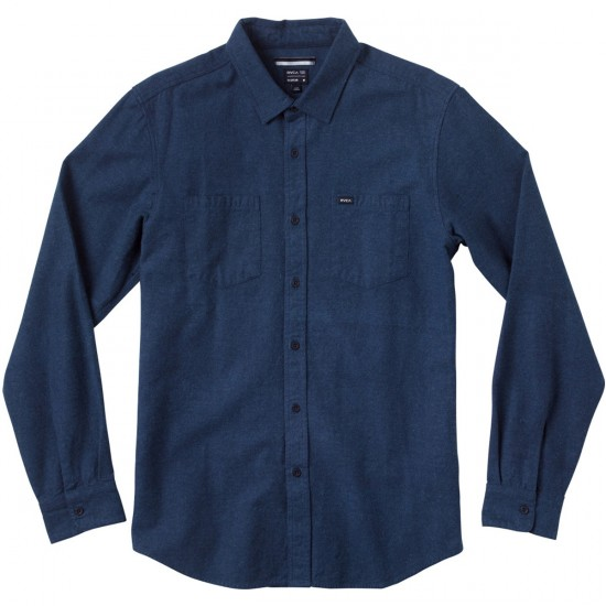 RVCA Daily Driver Long Sleeve Woven Shirt - Blue Thunder