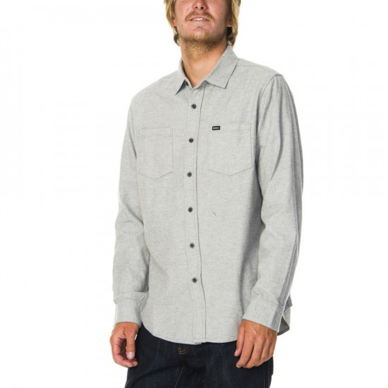 RVCA Daily Driver Long Sleeve Woven Shirt - Grey Noise