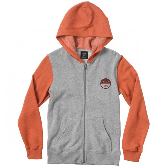 RVCA Divide Youth Embroidered Hoodie - Athletic Red/Heather Grey