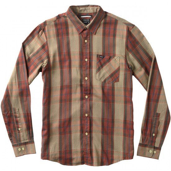 RVCA Elijah Long Sleeve Youth Shirt - Red Earth