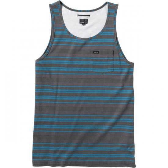 RVCA Hairy Stripe Youth Tank Top - Shark
