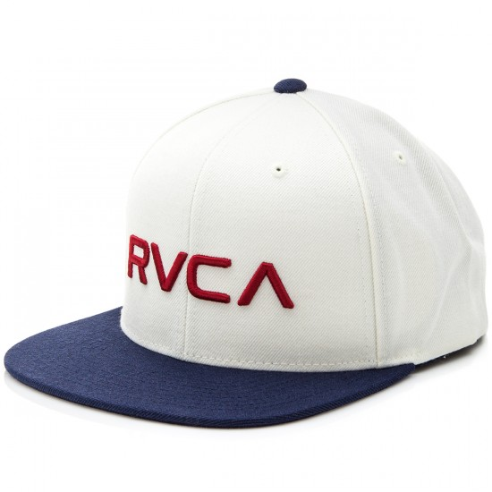 RVCA RVCA Twill Snapback Hat - White with Navy