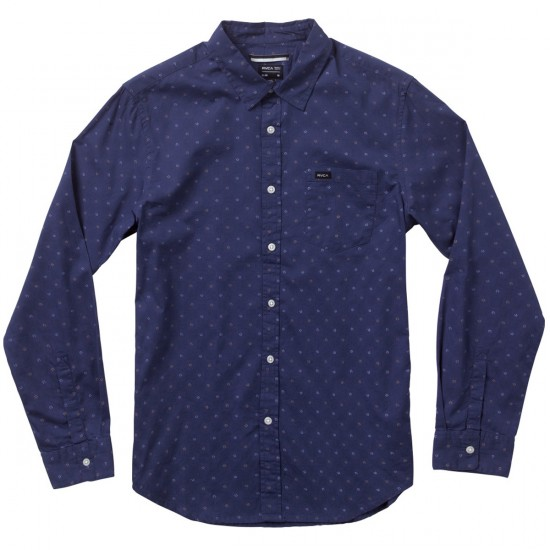 RVCA Satisfaction Long Sleeve Woven Shirt - Midnight