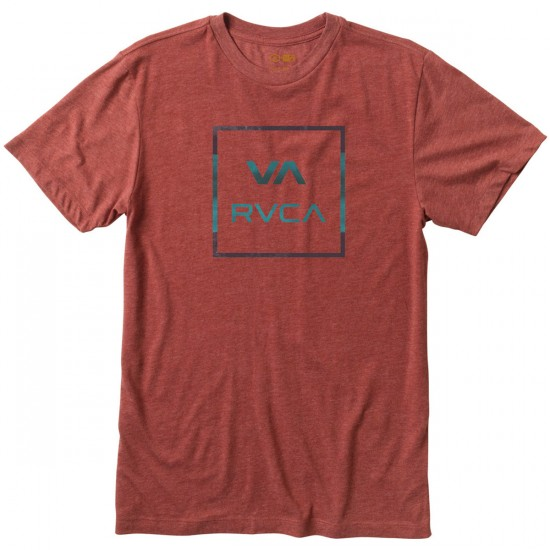 RVCA VA All The Way Stripe T-Shirt - Brick Red