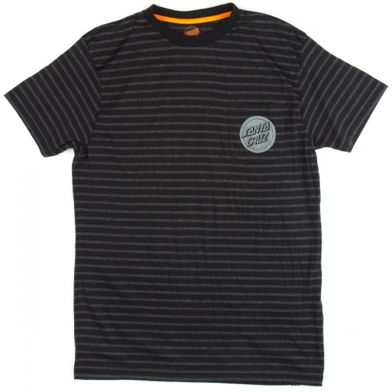Santa Cruz Hand Stripes Pocket T-Shirt - Black/Carbon Melange