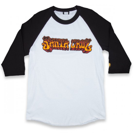 Santa Cruz Psyched Raglan 3/4 Sleeve T-Shirt - White/Black