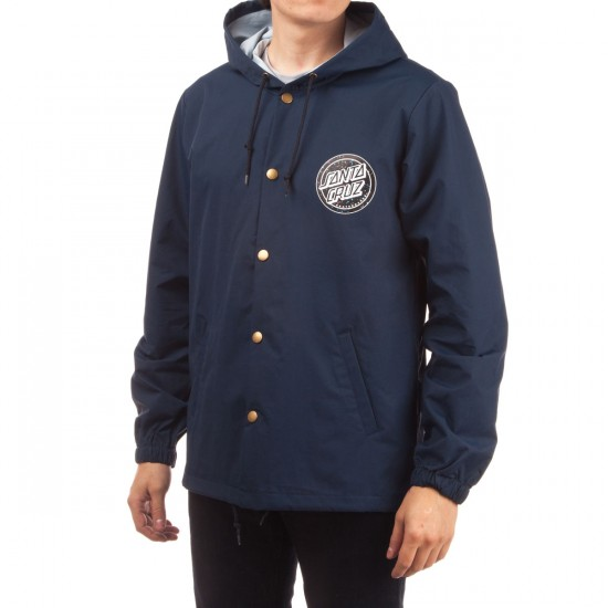 Santa Cruz Trap Keep Dot Snap Hooded Windbreaker Jacket - Classic Navy