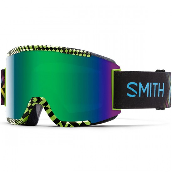 Smith Squad Snowboard Goggles - Neon Blacklight with Green Sol X Mirror