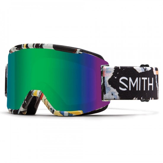 Smith Squad Snowboard Goggles - Ripped With Green Sol-X Mirror
