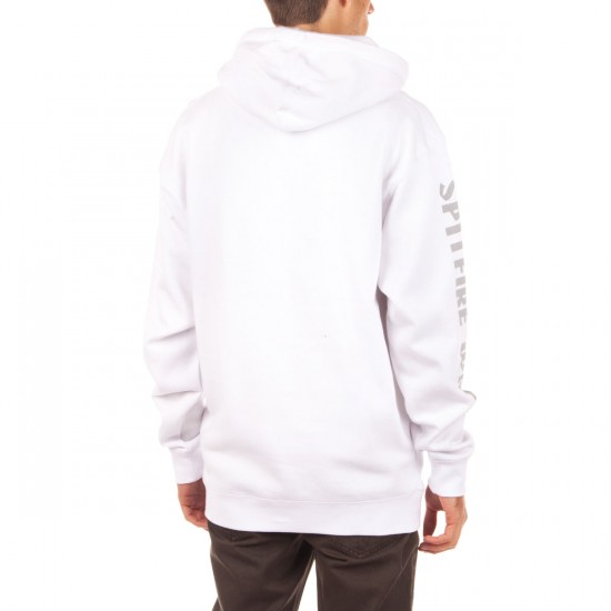 Spitfire Bighead Sleeve Pullover Hoodie - White/Grey