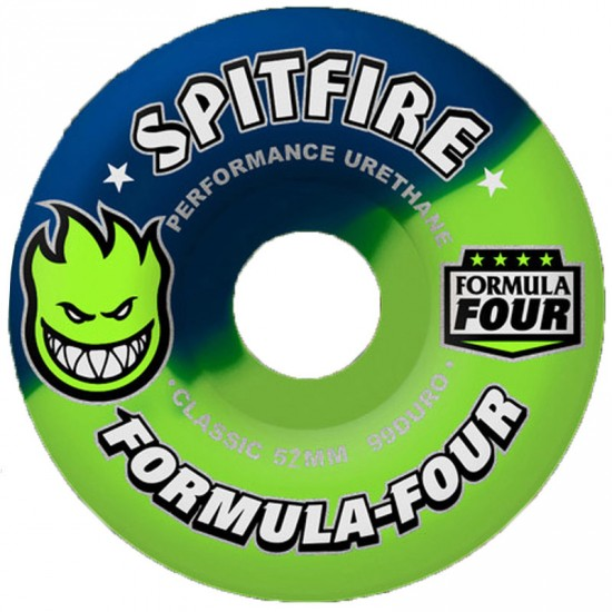 Spitfire Formula Four Nuero Neon Lime 50/50 Swirl Skateboard Wheels - 52mm