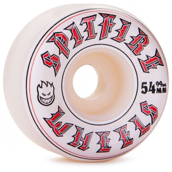 Spitfire Old English Skateboard Wheels - White - 54mm