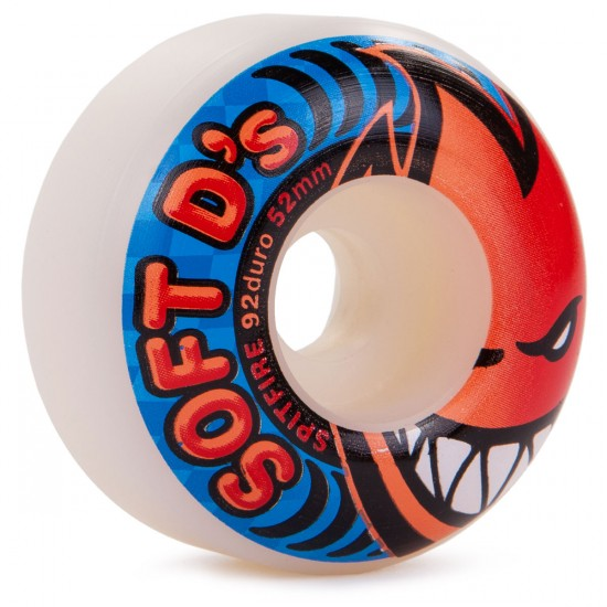 Spitfire Soft D's Skateboard Wheels 52mm 92a - White