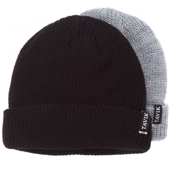 Tavik Soft Roll 2 Pack Beanie - Black/Heather Grey