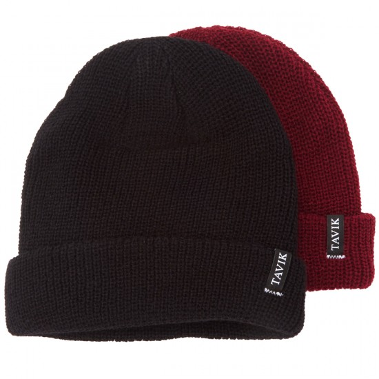 Tavik Soft Roll 2 Pack Beanie - Black/Maroon