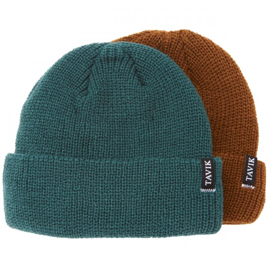 Tavik Soft Roll 2 Pack Beanie - Jungle Green/Vintage Brown