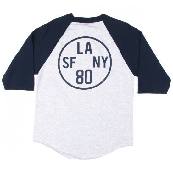 The Hundreds Time Zone Raglan T-Shirt - Athletic Heather/Navy