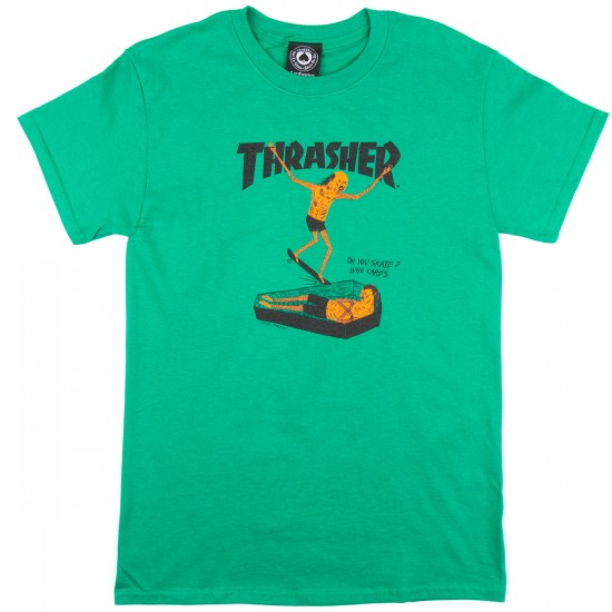 Thrasher Neck Face T-Shirt - Kelly Green