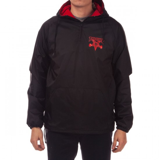 Thrasher Skategoat Coach Hoodie Jacket - Black/Red