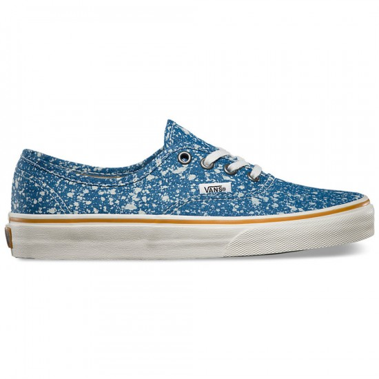 Vans Authentic Denim Splatter Shoes - Blue - 4.5
