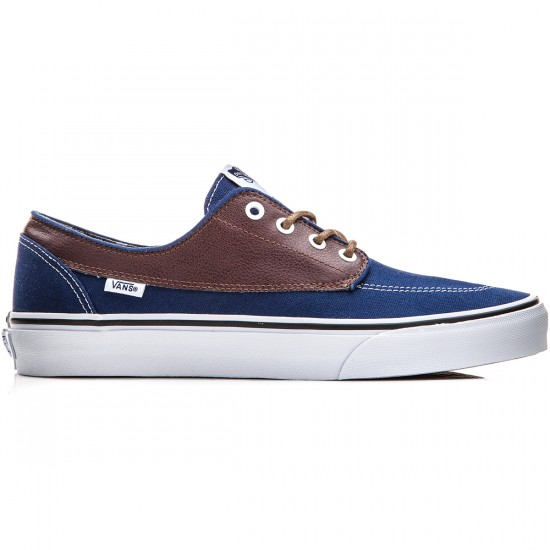 Vans Brigata Shoes - Leather/Plaid Estate Blue/Potting Soil - 10.0
