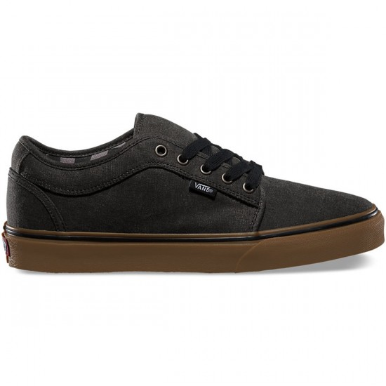 Vans Chukka Low Washed Shoes - Black/Gum - 9.5
