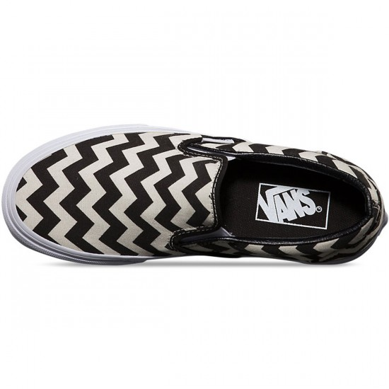 Vans Classic Slip-On Chevron Shoes - Black/White - 5.5