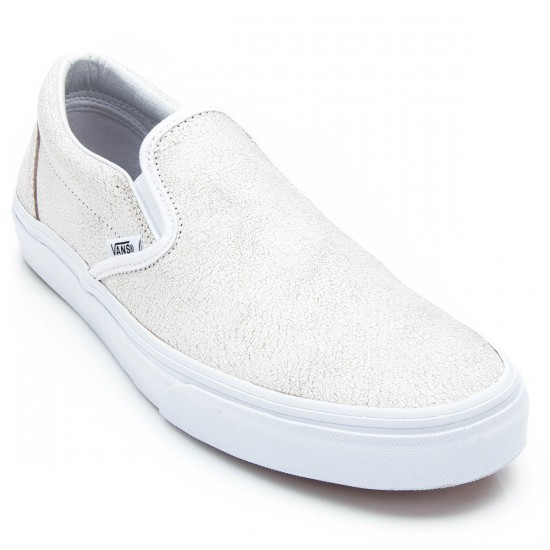 Vans Classic Slip-On Cracked Leather Youth Shoes - True White - 4.5